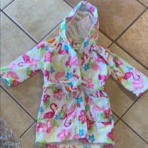 Girls robe : flamingos & Hawaiian flowers like new